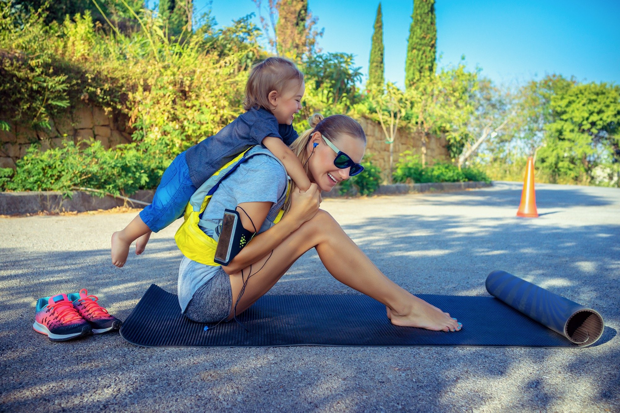 Mom with Son Stretching to Prevent Foot Pain